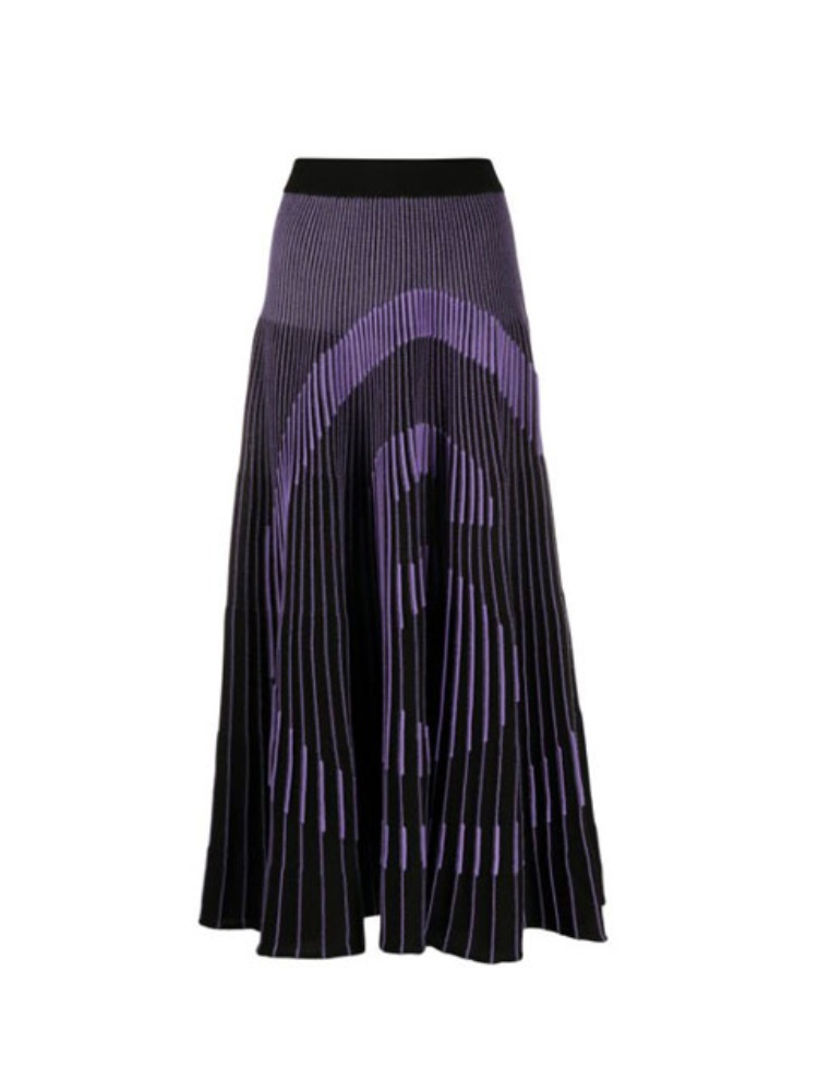 NUMBER KNITTED PLEATED SKIRT - 아데쿠베