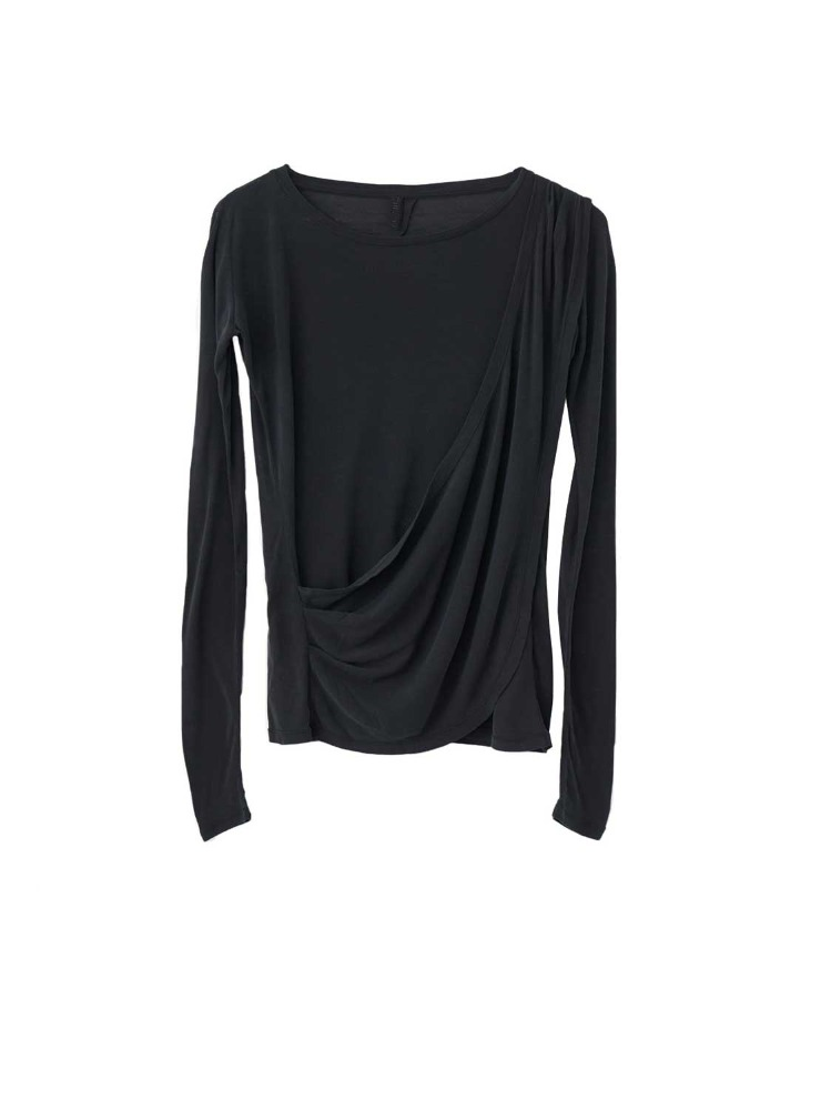 SILK J DRAPED TEE LS - 아데쿠베