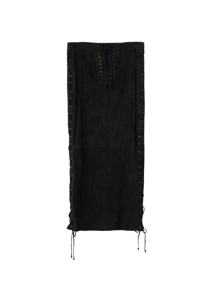 SUEDE SIDE LACE UP LONG SKIRT - 아데쿠베