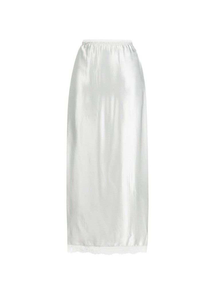 SATIN SLIP SKIRT WITH LACE HEM - 아데쿠베